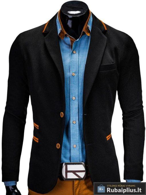 Stilingas juodas vyriškas švarkas prie džinsų bleizeris internetu pigiau Franco M10