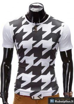 Vyriški marškinėliai su originalia juodai balta grafika internetu pigiau Sean S378