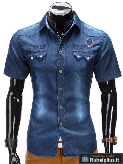 """Mėlyni džinsiniai marškiniai vyrams trumpomis rankovėmis """"Dino"""""""