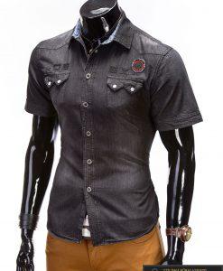 Juodos spalvos džinsiniai marškiniai vyrams trumpomis rankovėmis internetu pigiau