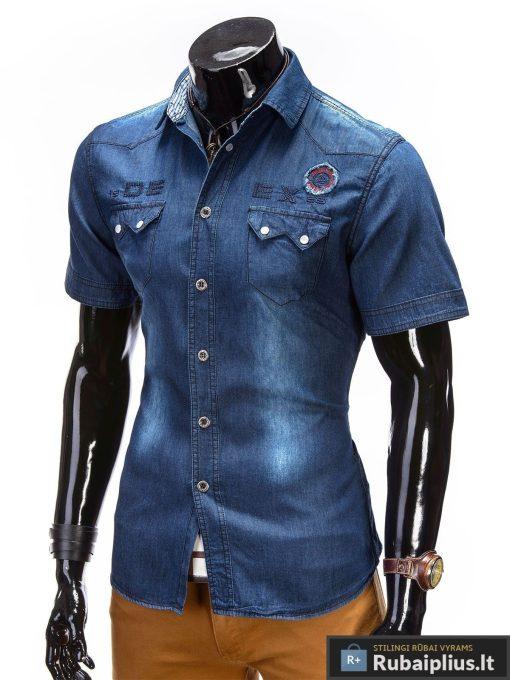 Mėlynos spalvos džinsiniai marškiniai vyrams trumpomis rankovėmis internetu pigiau