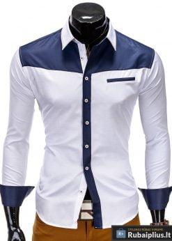 Balti vyriški marškiniai su mėlynomis detalėmis