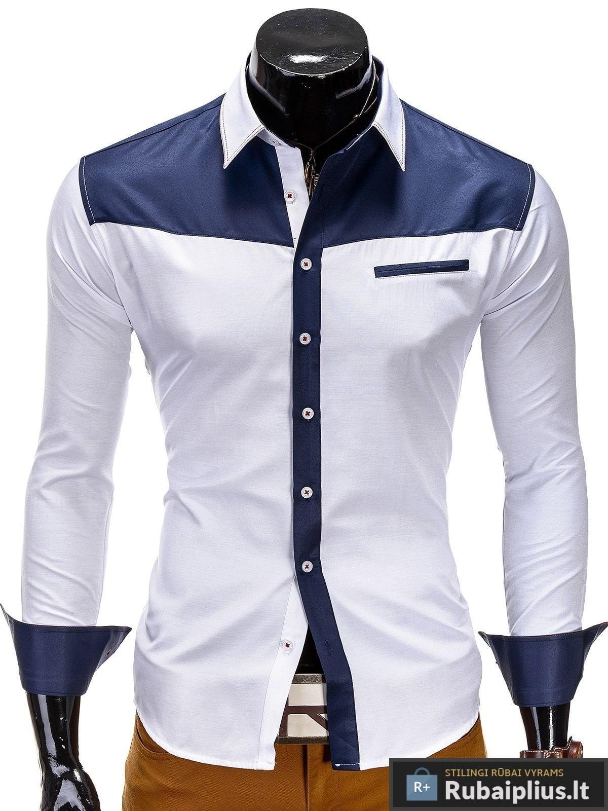 """Balti vyriški marškiniai su mėlynomis detalėmis """"BW"""""""