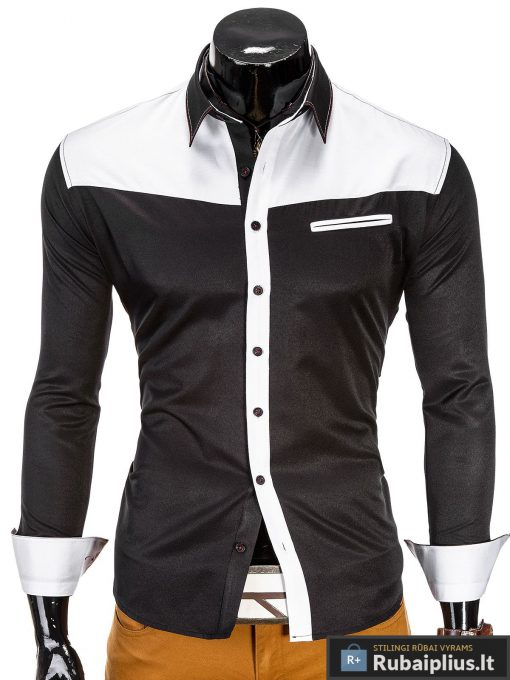 """Juodi vyriški marškiniai su baltomis detalėmis """"BW"""""""