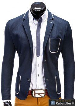 Tamsiai mėlynas vyriškas švarkas prie džinsų internetu pigiau Manston M41
