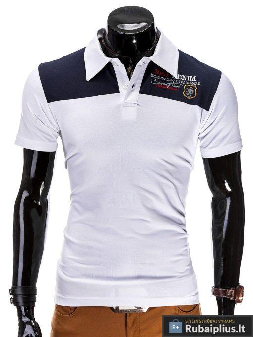Stilingi balti vyriški polo marškinėliai