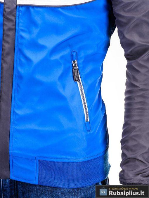 Pilka-mėlyna pavasarinė vyriška striukė vyrams internetu pigiau C97TP kišenė