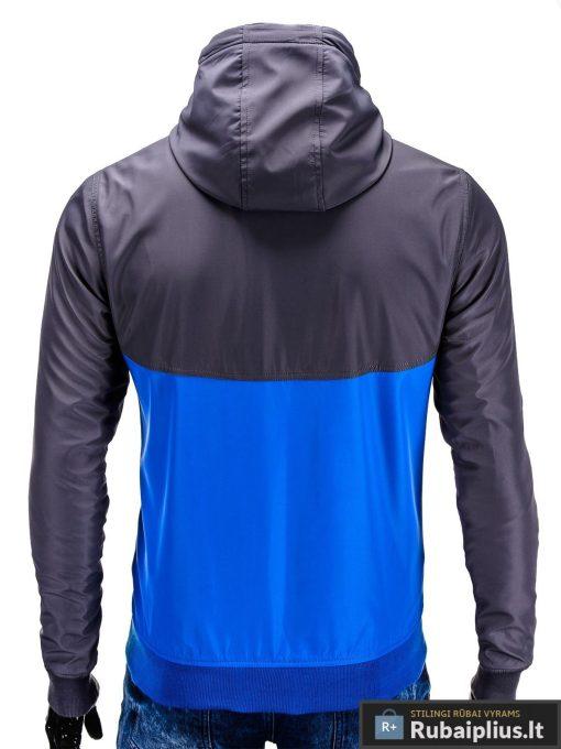Pilka-mėlyna pavasarinė vyriška striukė vyrams internetu pigiau C97TP nugara