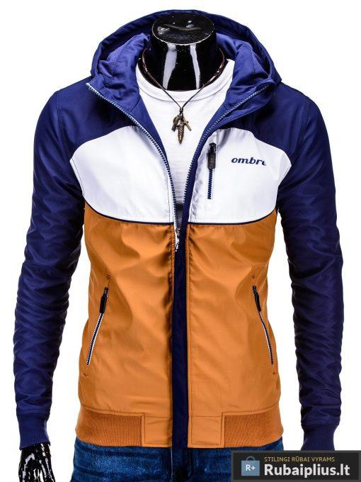 Mėlyna-ruda pavasarinė vyriška striukė vyrams internetu pigiau C97R priekis