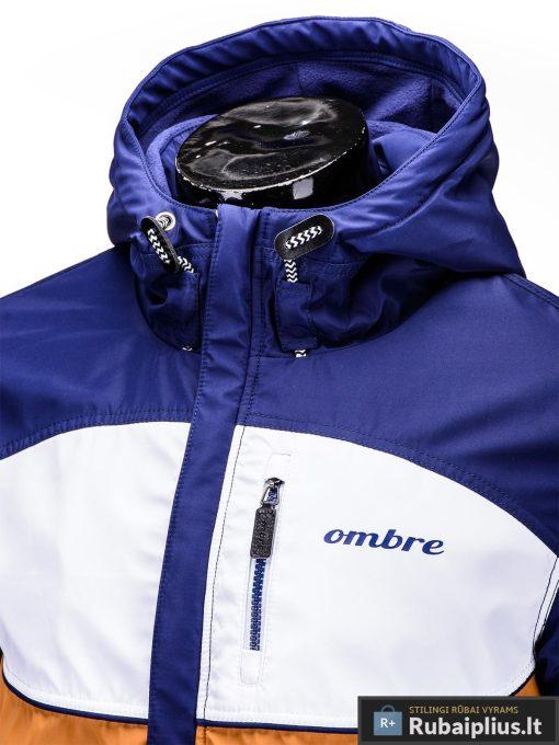 Mėlyna-ruda pavasarinė vyriška striukė vyrams internetu pigiau C97R apykaklė