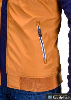 Mėlyna-ruda pavasarinė vyriška striukė vyrams internetu pigiau C97R kišenė