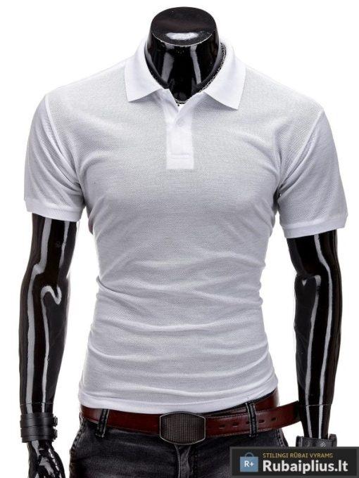 Klasikiniai balti polo marškinėliai vyrams internetu pigiau S517