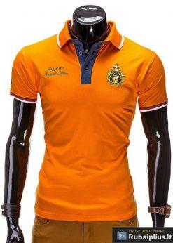 Oranžinės spalvos polo marškinėliai vyrams internetu pigiau Ombre S505