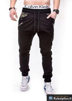 Juodos vyriškos kelnės jogger Remus P301