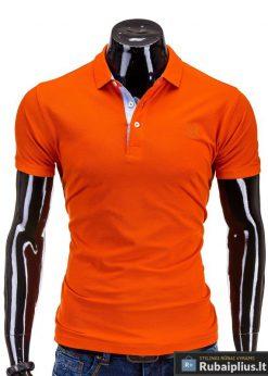Klasikiniai oranžinės spalvos polo marškinėliai vyrams internetu pigiau S594