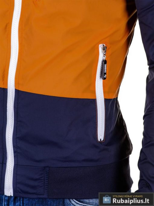 Ruda-tamsiai mėlyna vyriška striukė vyrams internetu pigiau C201R kišenė