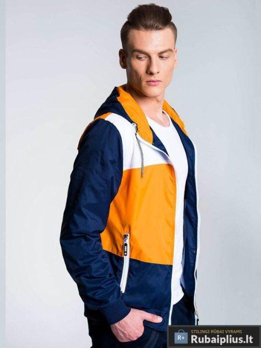 Ruda-tamsiai mėlyna vyriška striukė vyrams internetu pigiau C201R žmogus šonas