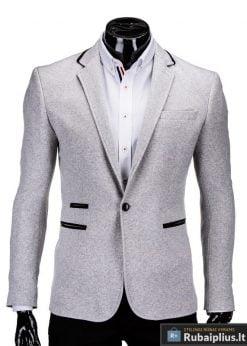 Šviesiai pilkas vyriškas švarkas prie džinsų internetu pigiau Marc M61