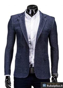 Tamsiai mėlynas madingas vyriškas švarkas prie džinsų Milan M59