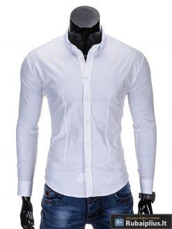 Klasikiniai balti vyriški marškiniai ilgomis rankovėmis vyrams internetu pigiau K219B priekis