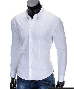 Klasikiniai balti vyriški marškiniai ilgomis rankovėmis vyrams internetu pigiau K219B kairė