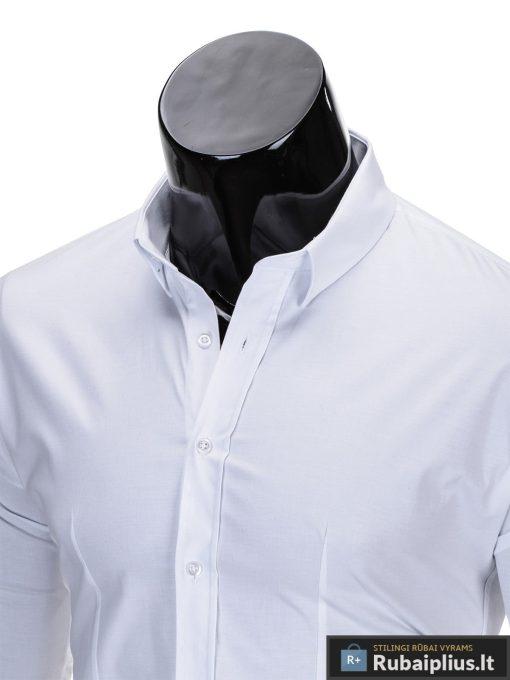 Klasikiniai balti vyriški marškiniai ilgomis rankovėmis vyrams internetu pigiau K219B apykaklė