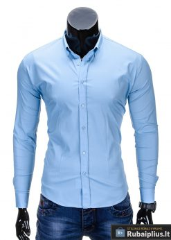 Klasikiniai šviesiai mėlyni vyriški marškiniai ilgomis rankovėmis vyrams internetu pigiau K219SM priekis