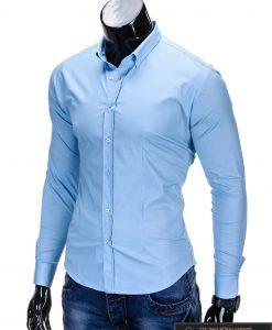 Klasikiniai šviesiai mėlyni vyriški marškiniai ilgomis rankovėmis vyrams internetu pigiau K219SM kairė