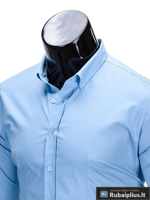 Klasikiniai šviesiai mėlyni vyriški marškiniai ilgomis rankovėmis vyrams internetu pigiau K219SM apykaklė