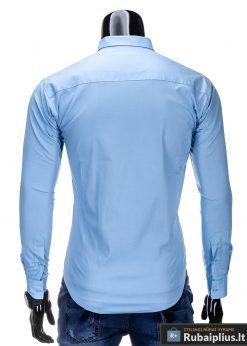 Klasikiniai šviesiai mėlyni vyriški marškiniai ilgomis rankovėmis vyrams internetu pigiau K219SM nugara