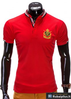Raudonos spalvos vyriški marškinėliai vyrams polo internetu pigiau Ombre S509