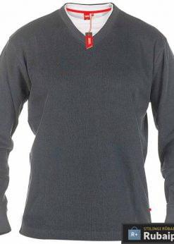 Didelių dydžių klasikinis pilkos spalvos vyriškas bliuzonas internetu Bliss KS16596AP