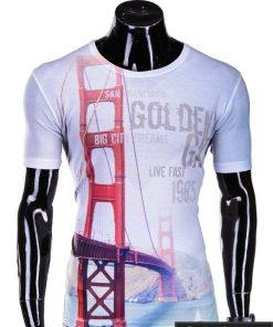 Baltos spalvos vyriški marškinėliai vyrams su aplikacija internetu pigiau Fast S382