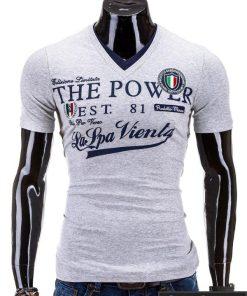 Pilki vyriški marškinėliai vyrams su užrašu internetu pigiau Power S563
