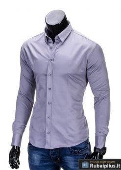 Klasikiniai pilki vyriški marškiniai ilgomis rankovėmis vyrams internetu pigiau K219P kairė