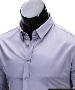 Klasikiniai pilki vyriški marškiniai ilgomis rankovėmis vyrams internetu pigiau K219P apykaklė