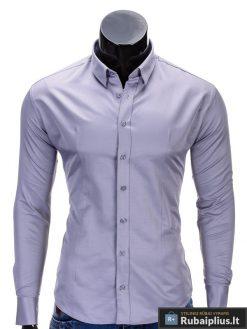 Klasikiniai pilki vyriški marškiniai ilgomis rankovėmis vyrams internetu pigiau K219P priekis