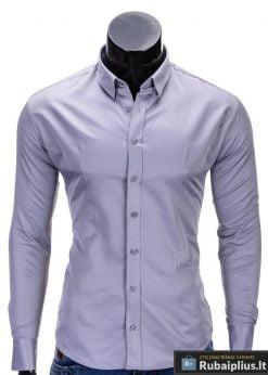 Pilkos spalvos klasikiniai vyriški marškiniai vyrams internetu pigiau K219P