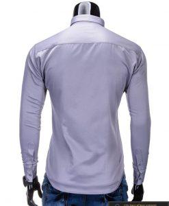 Klasikiniai pilki vyriški marškiniai ilgomis rankovėmis vyrams internetu pigiau K219P nugara