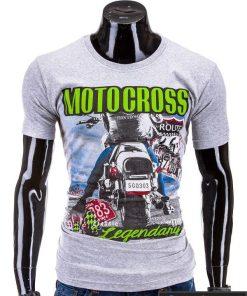 Pilkos spalvos vyriški marškinėliai vyrams internetu pigiau Motocross S591