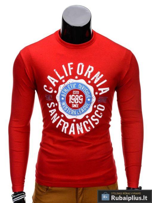 Raudoni marškinėliai vyrams ilgomis rankovėmis internetu Calif L97 vyriški marškinėliai internetu