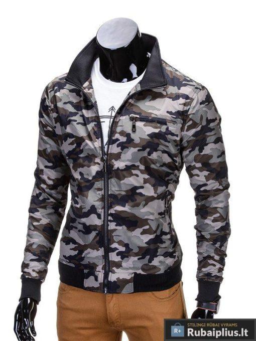 Pavasarinės ruda kamufliažinė vyriška striukė vyrams rudeniui internetu pigiau C267RUD kairė
