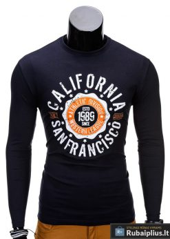 Tamsiai mėlyni marškinėliai vyrams ilgomis rankovėmis internetu Calif L97 vyriški marškinėliai pigiau