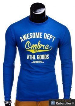 Mėlyni vyriški marškinėliai ilgomis rankovėmis internetu pigiau Dept L95