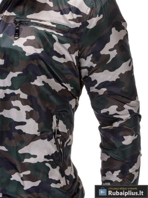 Pavasarinė žalia kamufliažinė vyriška striukė vyrams rudeniui internetu pigiau C267ZAL kišenė