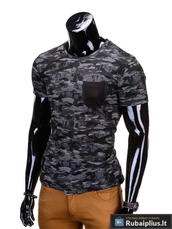 """Kamufliažiniai juodai-pilki vyriški marškinėliai vyrams """"Gift"""" - Rubaiplius.lt"""