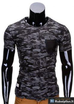Kamufliažiniai juodai-pilkos spalvos vyriški marškinėliai vyrams internetu pigiau Gift S690