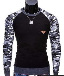 Juodas kamufliažinis vyriškas megztinis Digo B453