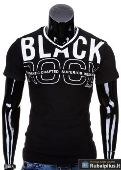 Juodi vyriški marškinėliai internetu pigiau Rock S640
