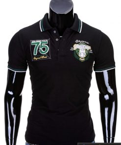 Juodi vyriški polo marškinėliai vyrams internetu pigiau Glory S621